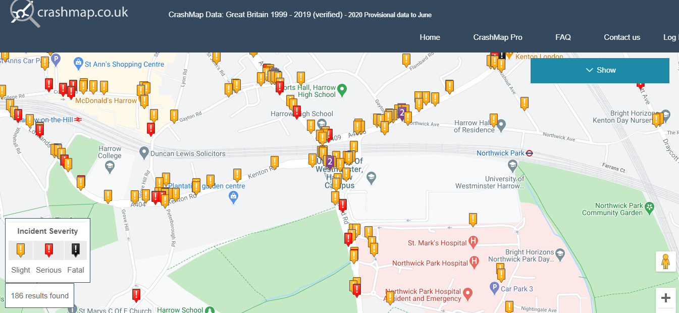 Crashmap Northwick Park area | Brent Cycling Campaign